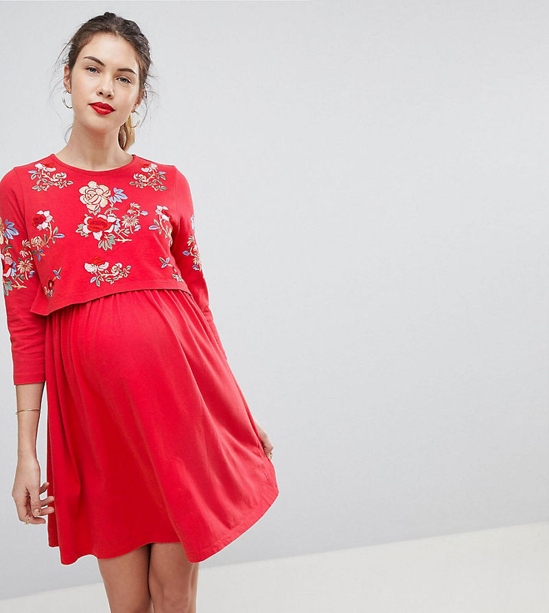 3bf1eb9e6c ASOS MATERNITY NURSING Double Layer Skater Dress With Embroidery - Red