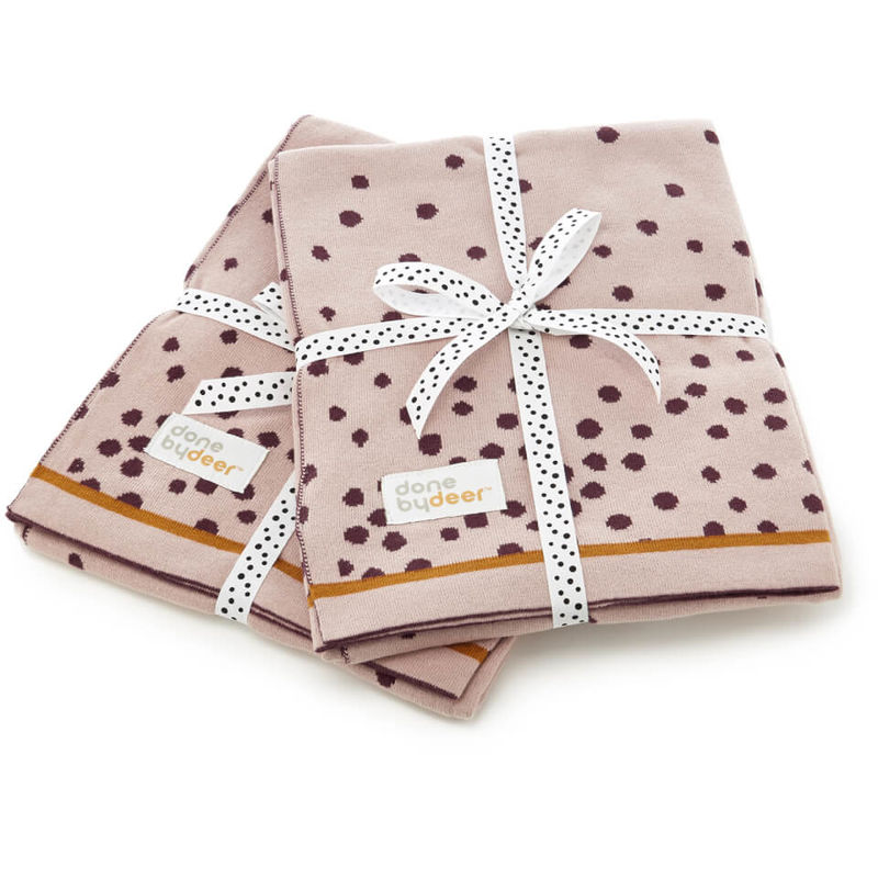 Done by Deer   Done By Deer Knitted Blanket Happy Dots - Powder