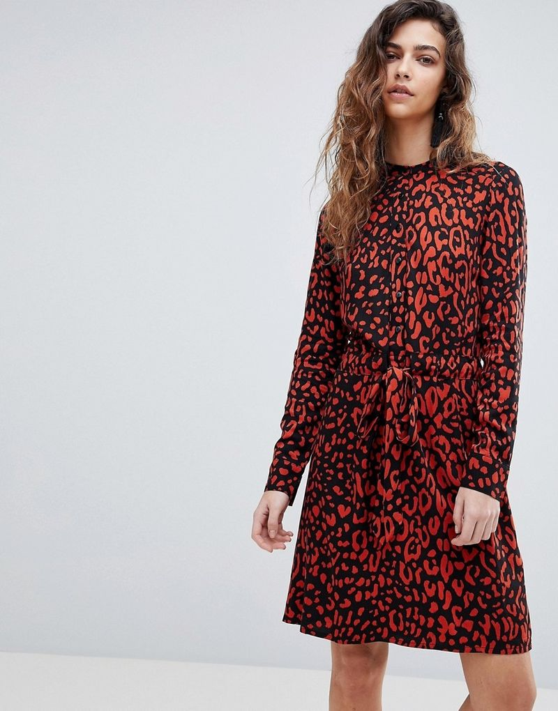 Warehouse Leopard Print Shirt Dress - Red and black