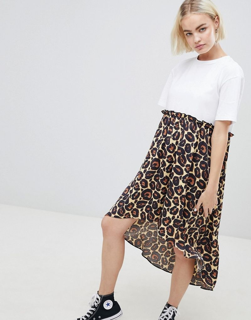 ASOS DESIGN mixed print smock dress with hi low hem - Leopard print