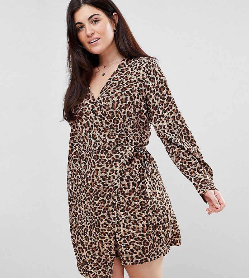 Unique 21 Hero Plus Wrap Dress With Asymmetric Hem - Leopard print