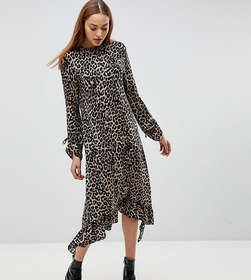 ASOS TALL Soft Trapeze Midi Dress with Pep Hem in Leopard Print - Animal