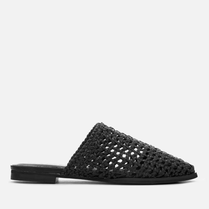 Sol Sana | Sol Sana Women's Woven Kim Leather Flat Mules - Black - UK 3 - Black