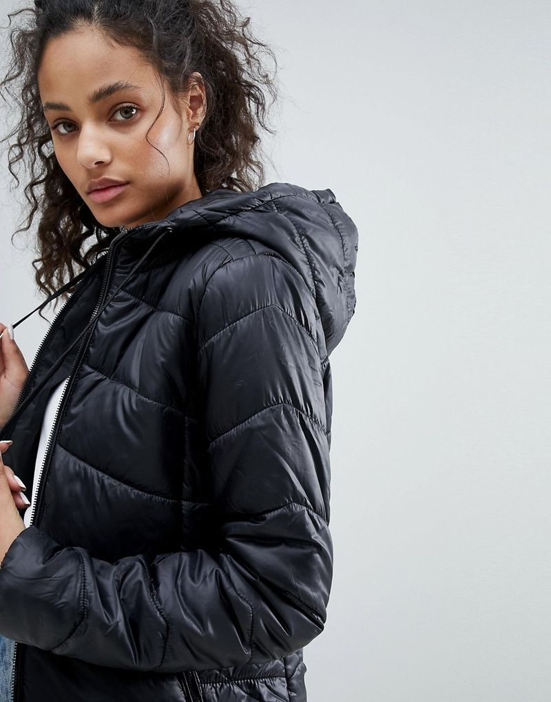 Bershka Puffer Jacket With Hood - Black