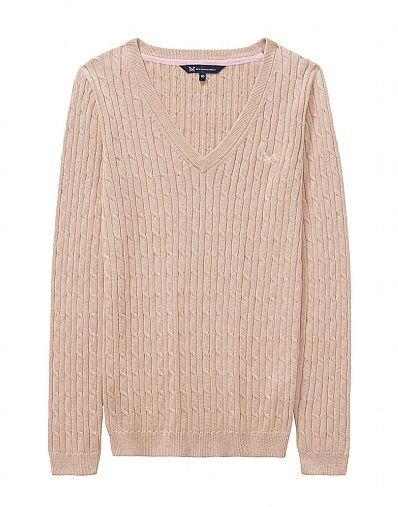 a098d0158c6 Heritage Cable Jumper in Almond Marl - Crew Clothing Company ...