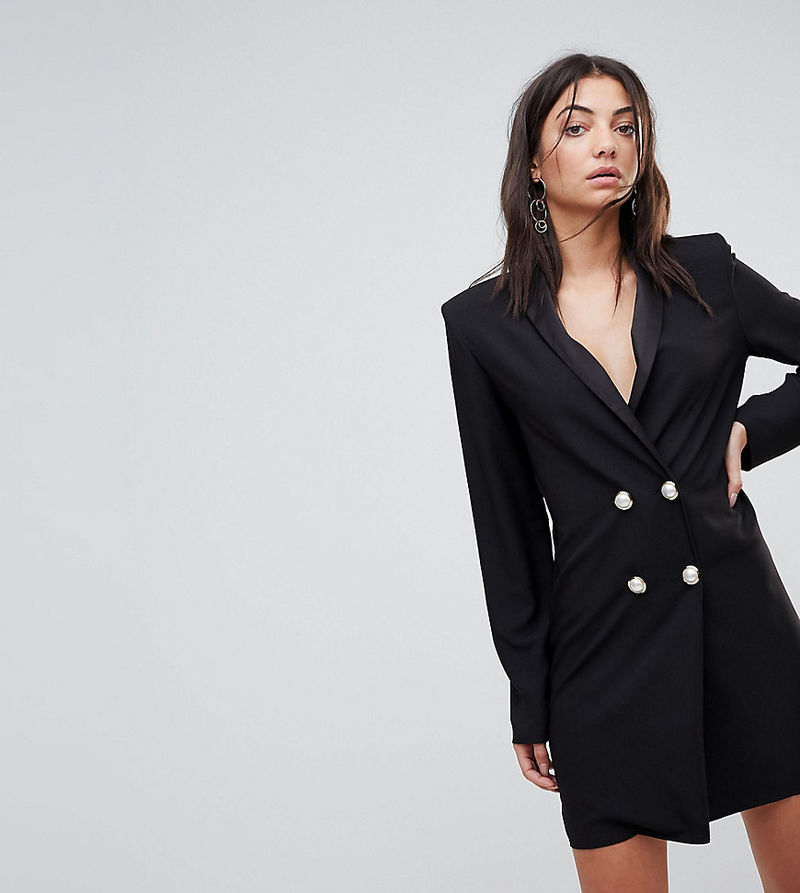 2dfdbaeffc7b ASOS TALL ULTIMATE Mini Tux Dress With Pearl Buttons - Black - ASOS ...