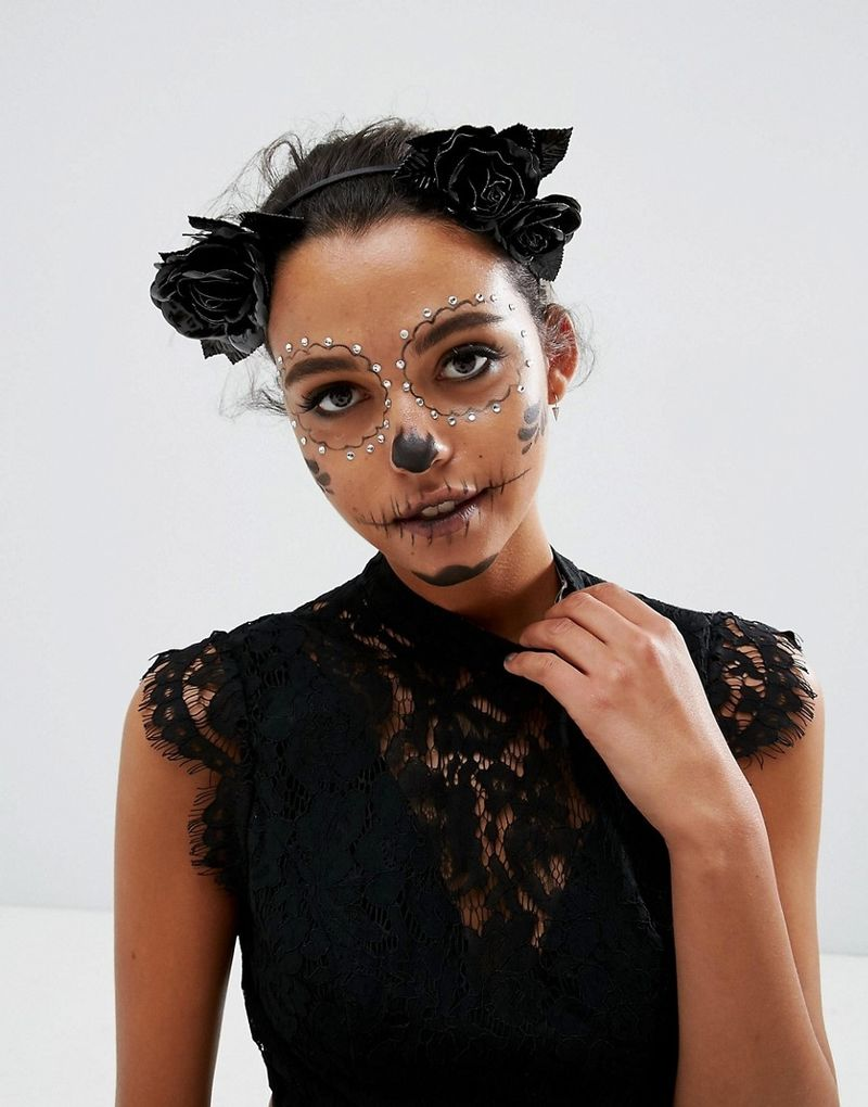 ASOS Halloween Faux Leather Floral Garland Headband - Black