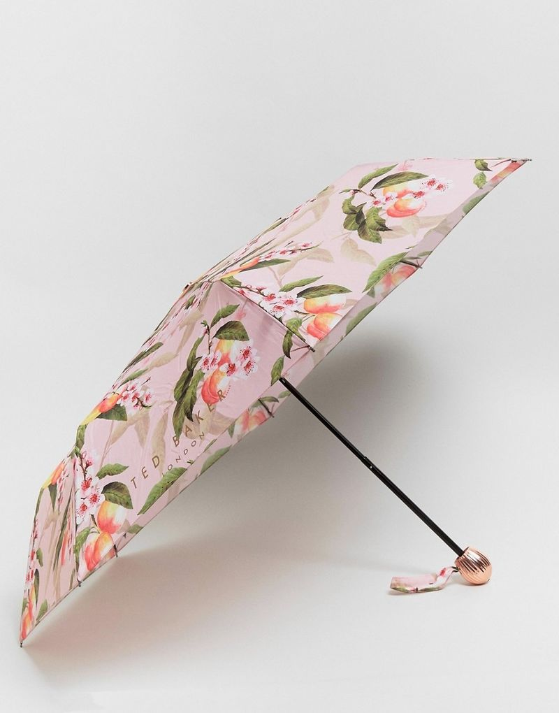 Ted Baker Compact Umbrella in Peach Blossom Print - Pink