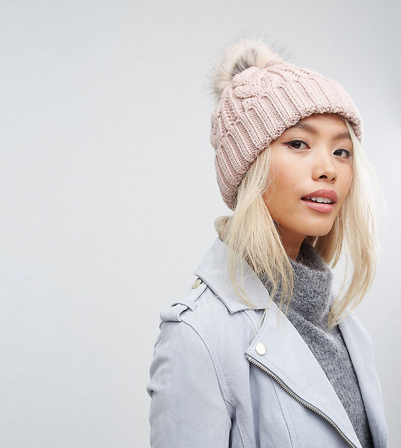 Stitch & Pieces Cable Pom Beanie in Blush Pink - Blush pink