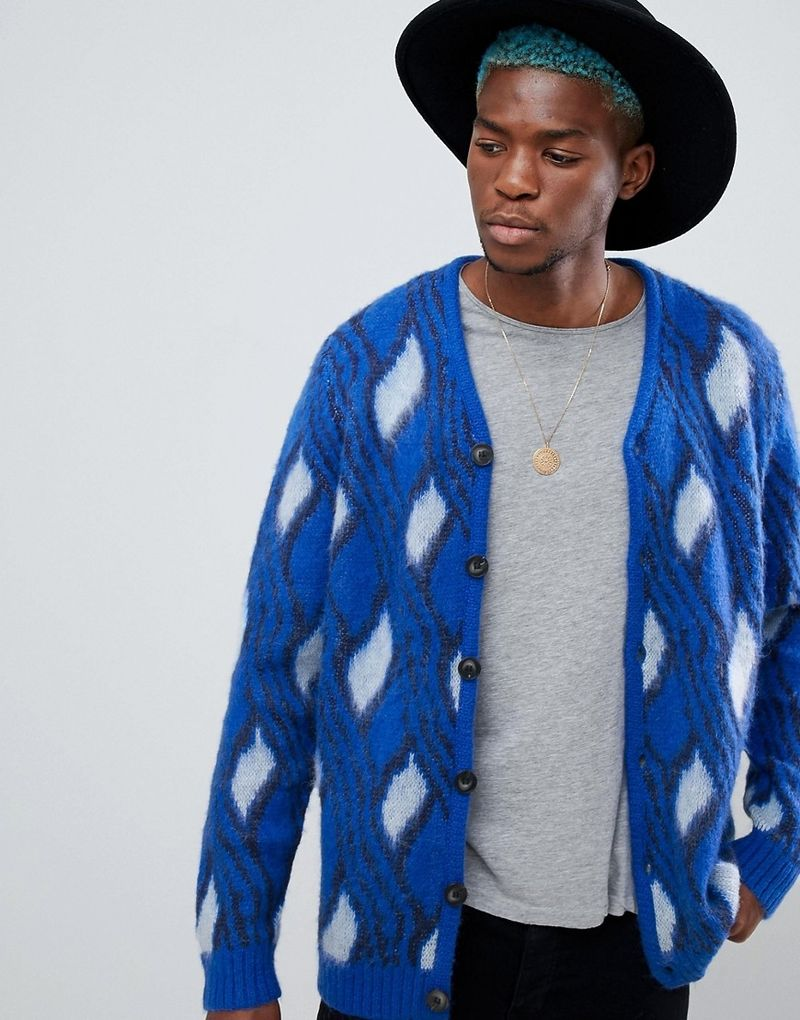 ASOS Fluffy Cardigan With Mohair Wool Blend In Bright Blue - Blue