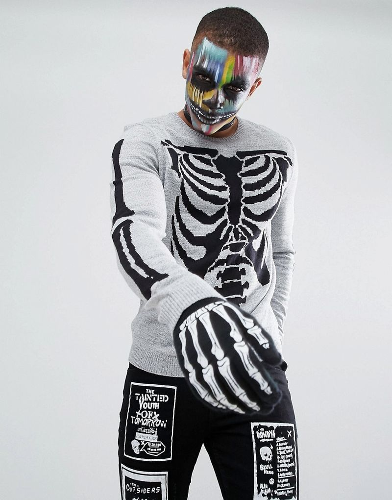ASOS Halloween Skeleton Jumper - Grey