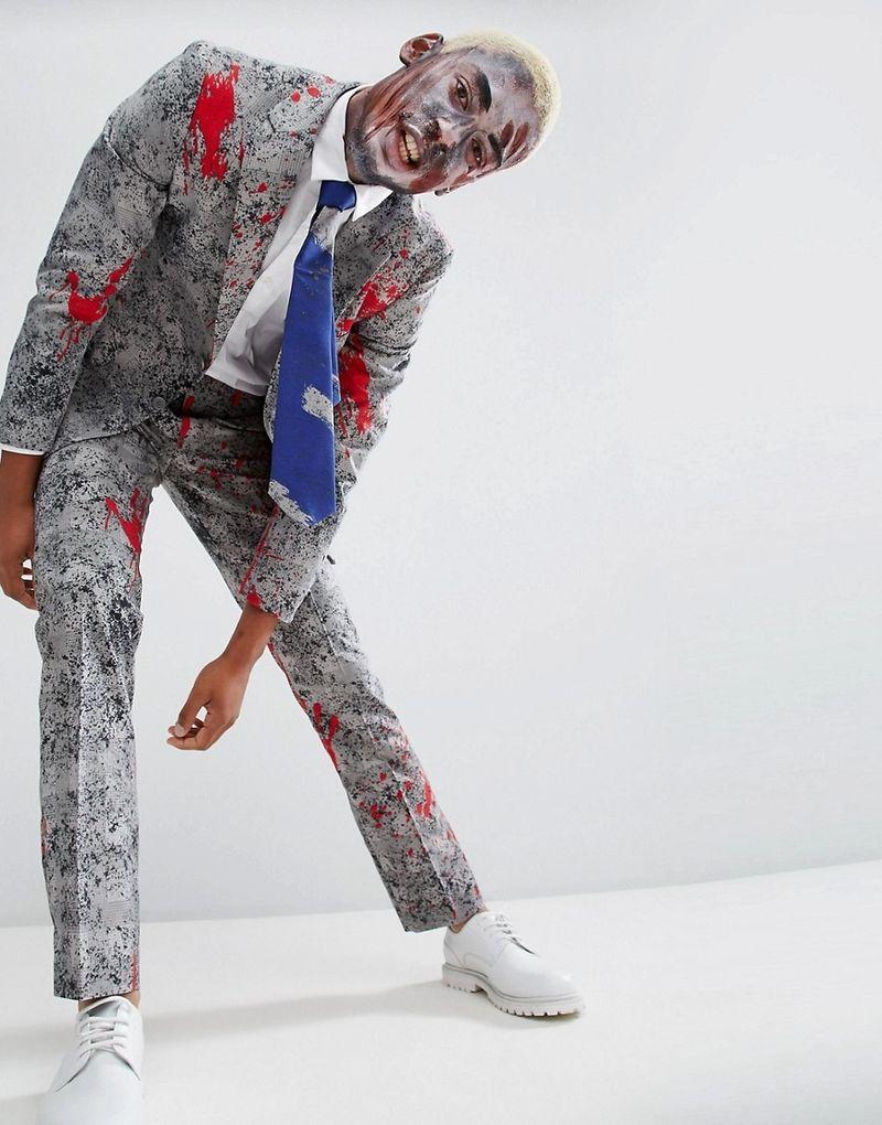 OppoSuits Halloween Slim Blood Stain Suit  Tie - Grey