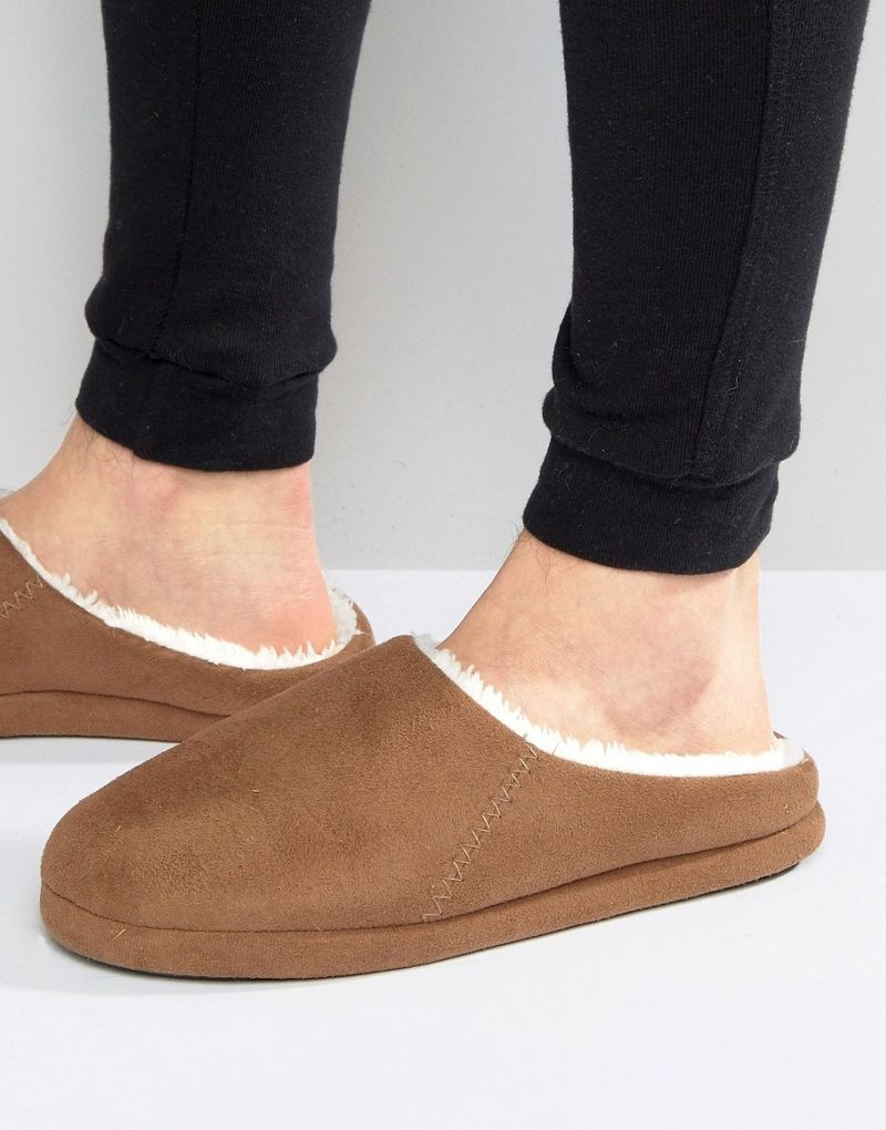 ASOS Slip On Slippers In Tan With Faux Shearling Lining - Tan
