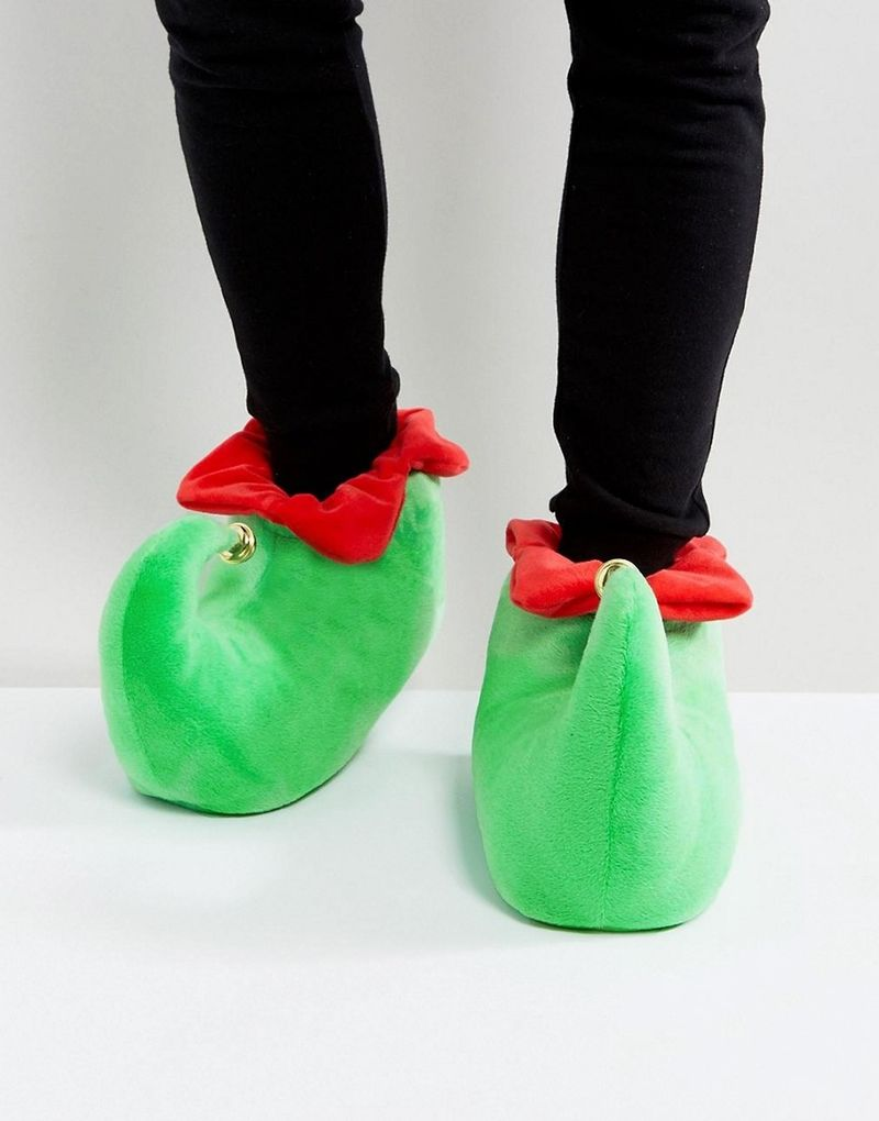 ASOS Christmas Elf Slippers In Green With Bell - Green