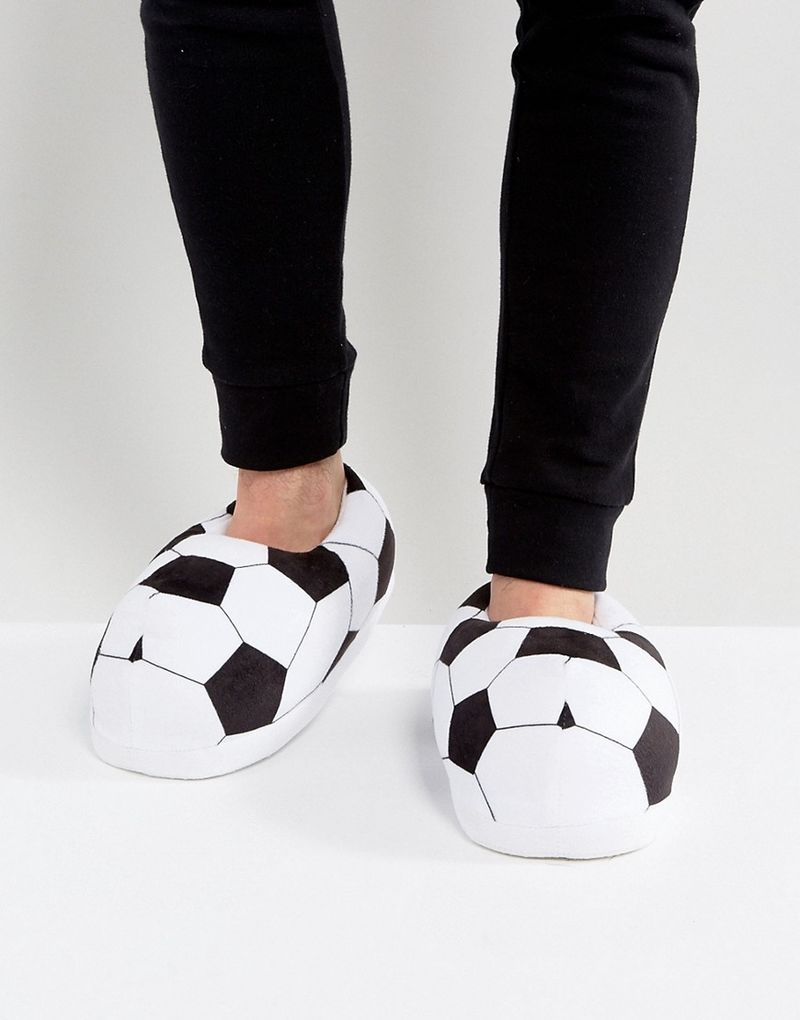 ASOS Football Slippers In Black and White - Multi