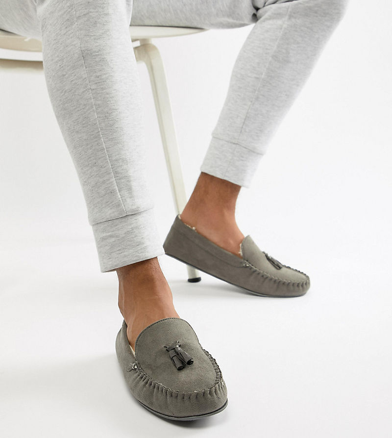 ASOS DESIGN slippers in grey with faux shearling lining - Grey