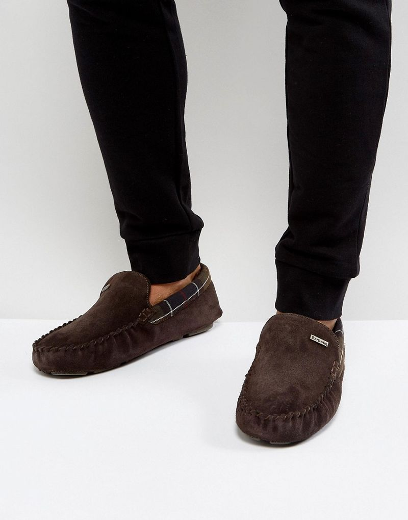 Barbour Monty Faux Shearling Lined Slippers - Brown