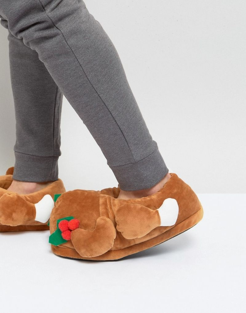 Dunlop Christmas Turkey Slippers - Brown