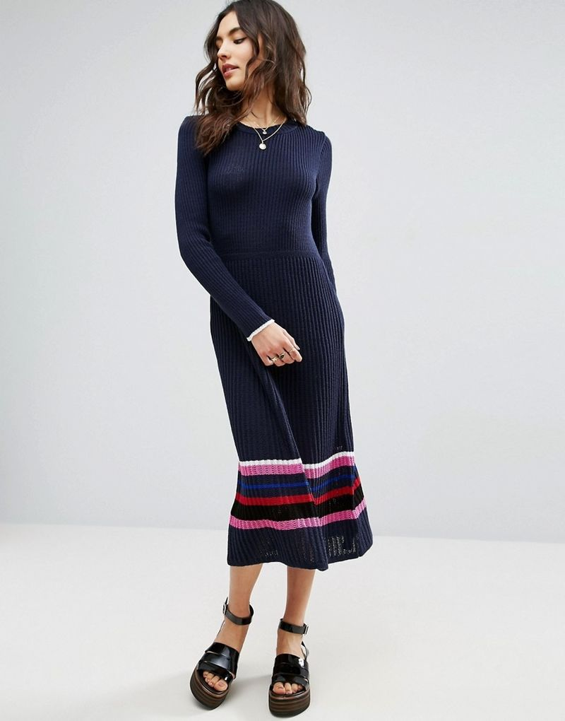ASOS Knitted Dress With Stripe Hem - Navy