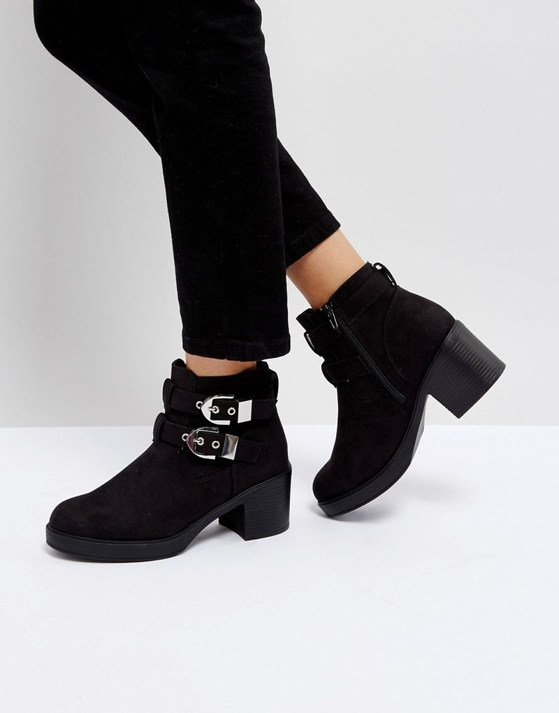 Truffle Collection Buckle Trim Chunky Heel Boot - Black micro