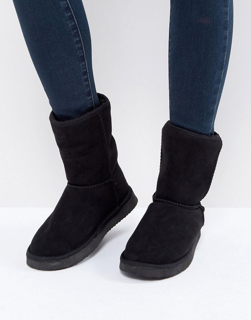 Truffle Collection Faux Fur Boot Slipper - Black