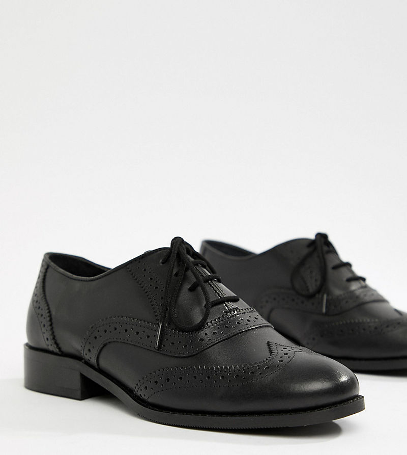 Park Lane Wide Fit Leather Brogue - Black leather