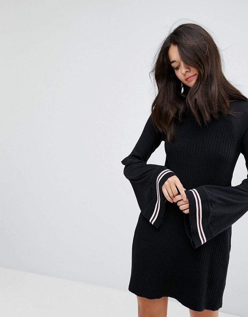 Free People Zou Bisou Flared Sleeved Knitted Dress - Black combo