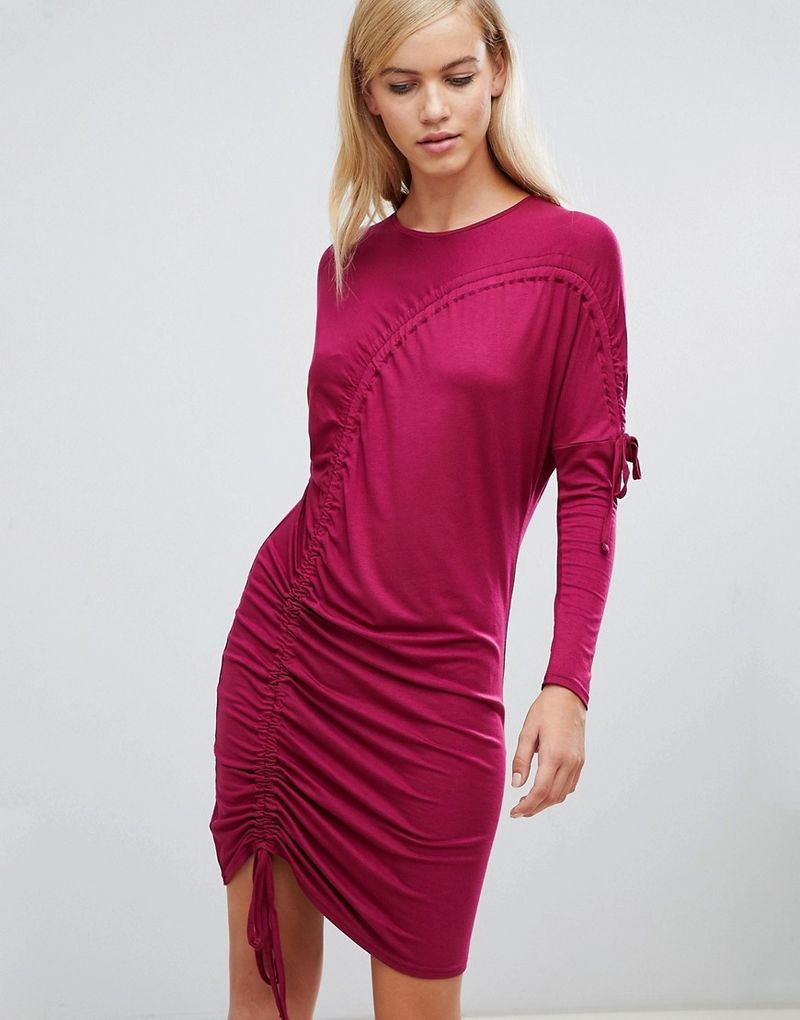 ASOS Ruched T-Shirt Dress - Oxblood