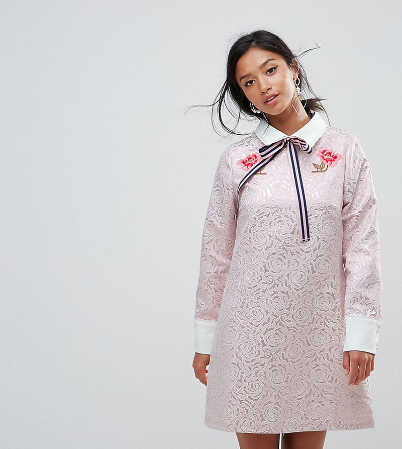 Sister Jane Petite Mini Dress With Embroidery - Pink