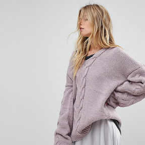 OneOn Hand Knitted Deep V Cable Jumper - Lilac