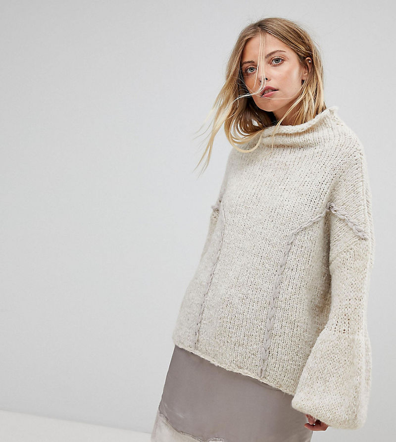 OneOn Hand Knitted Soft Cable Jumper - Nude