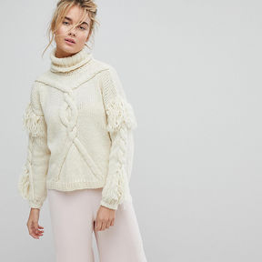OneOn Hand Knitted Cable Tassle Jumper - Cream