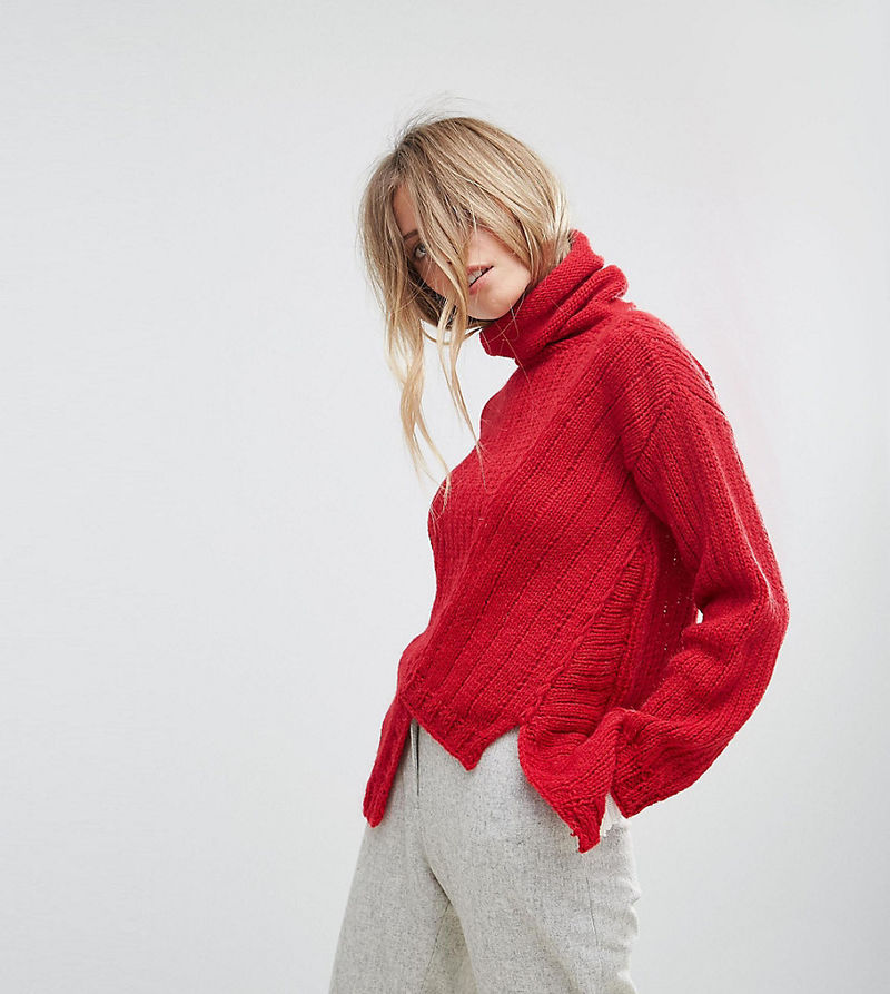 OneOn Hand Knitted Asymmetric High Neck Jumper - Red
