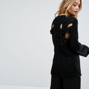 OneOn Hand Knitted Cable Back Jumper - Black