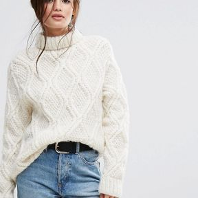 People Tree Hand Knitted Cable Knit Unbleached Wool High Neck Oversized Jumper - Cream
