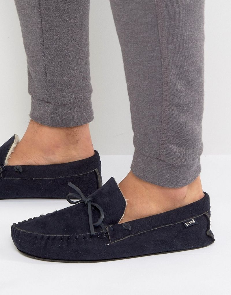 Totes Moccasin Slippers - Navy