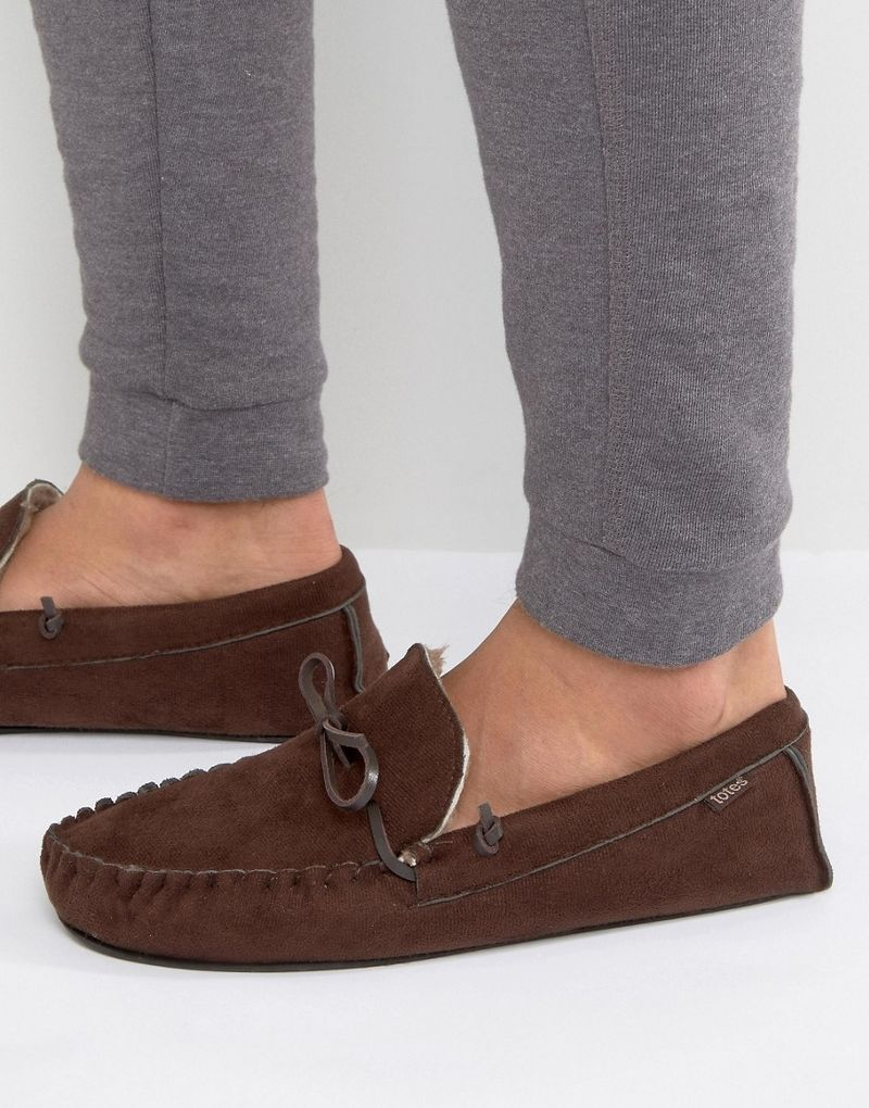 Totes Moccasin Slippers - Brown