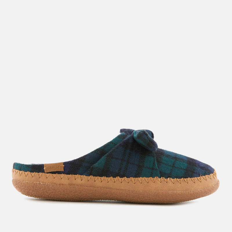 TOMS | TOMS Women's Plaid Felt Bow Slippers - Spruce - UK 3 - Green