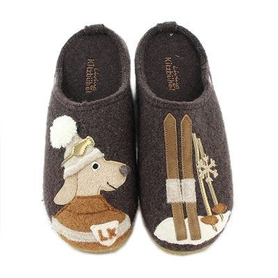 Living Kitzbühel Women's Slipper Skiing Dog Coffee/Brown