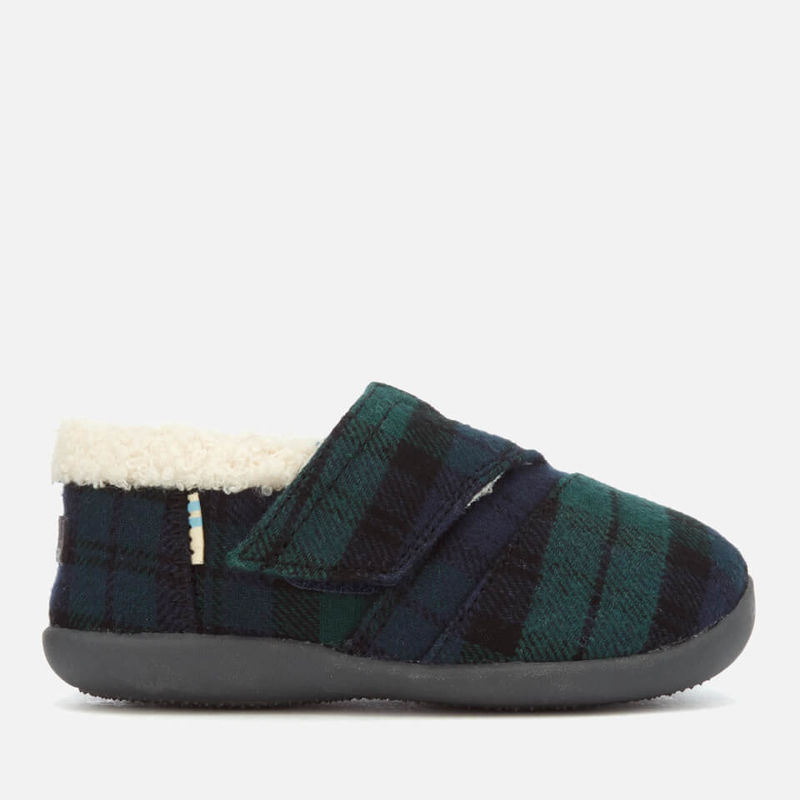 TOMS | TOMS Toddlers' Plaid Felt Slippers - Spruce - UK 3 Toddler - Green