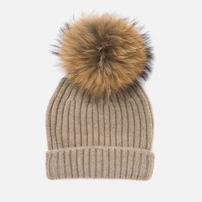 BKLYN | BKLYN Women\'s Cashmere Pom Pom Hat - Oatmeal/Natural