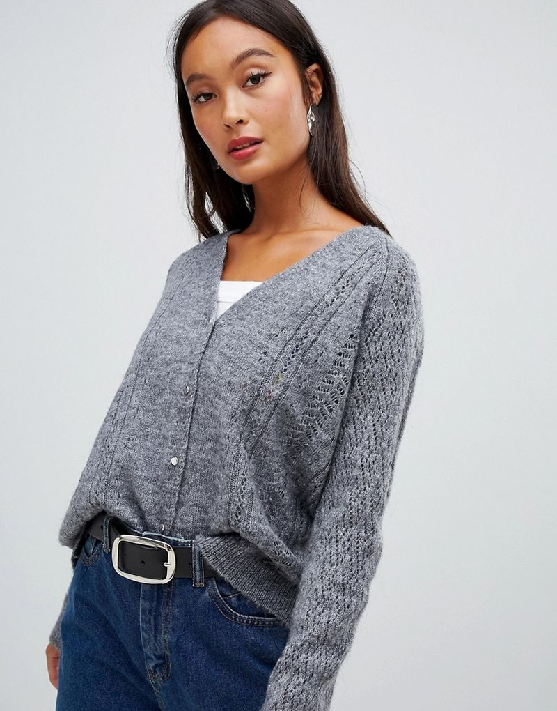 cae10bb2bbd Pimkie Cable Knit Cardigan - Grey - ASOS