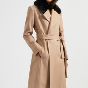 Platform Felt Fur Trim Coat - camel