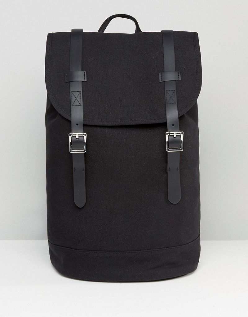 ASOS | ASOS Backpack In Canvas With Faux Leather Trims - Black