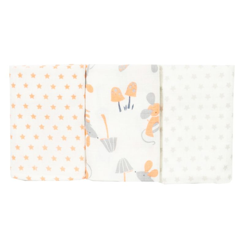 Kite Clothing Organic Mousey 3 Pack Baby Muslins