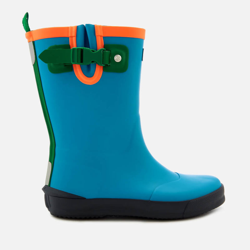 Hunter | Hunter Kids' Davison Wellies - Twilight/Hyper Green/Navy - UK 13 Kids - Blue