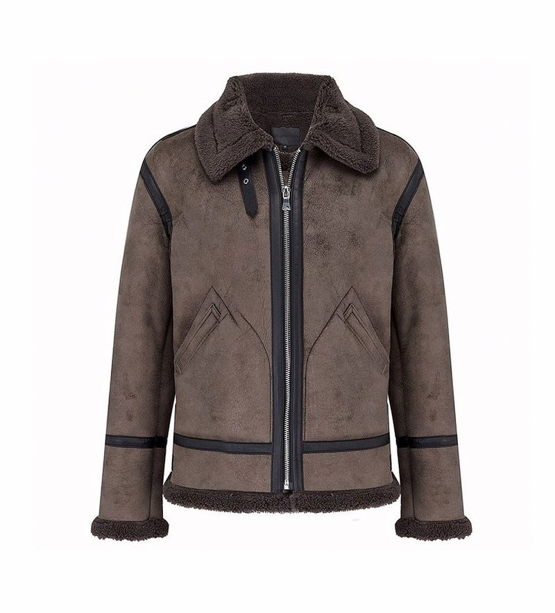 Beauxnarrow   SHEARLING SUEDE LEATHER JACKET WITH TAPING - GREY (LIMITED EDITION)