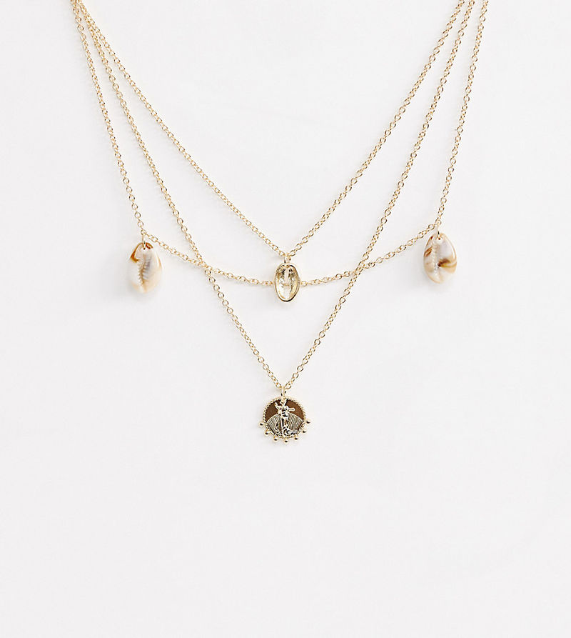 Liars & Lovers resin shell & coin layering necklace - Gold