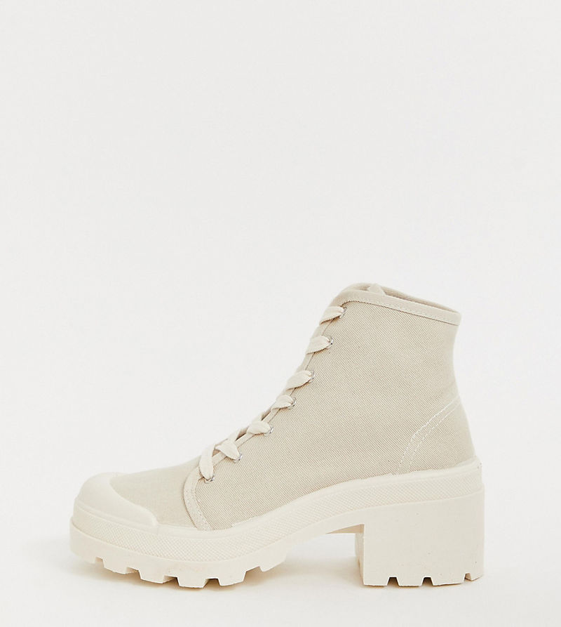 Pull&Bear canvas lace front heeled boots in beige