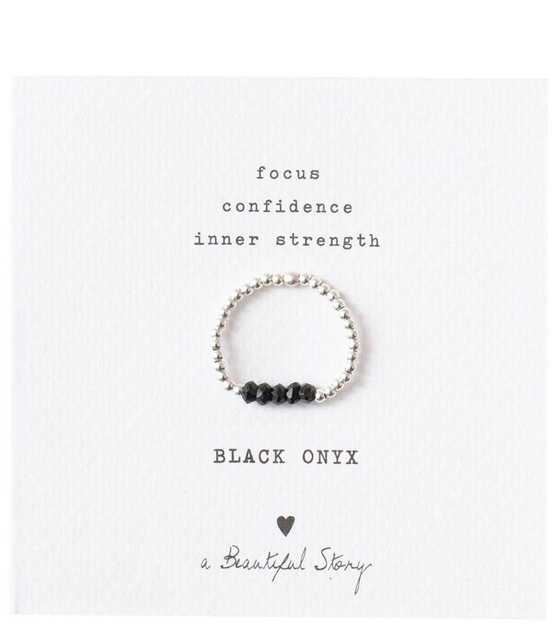A Beautiful Story-Rings - Beauty Black Onyx Silver Plated Ring - Black